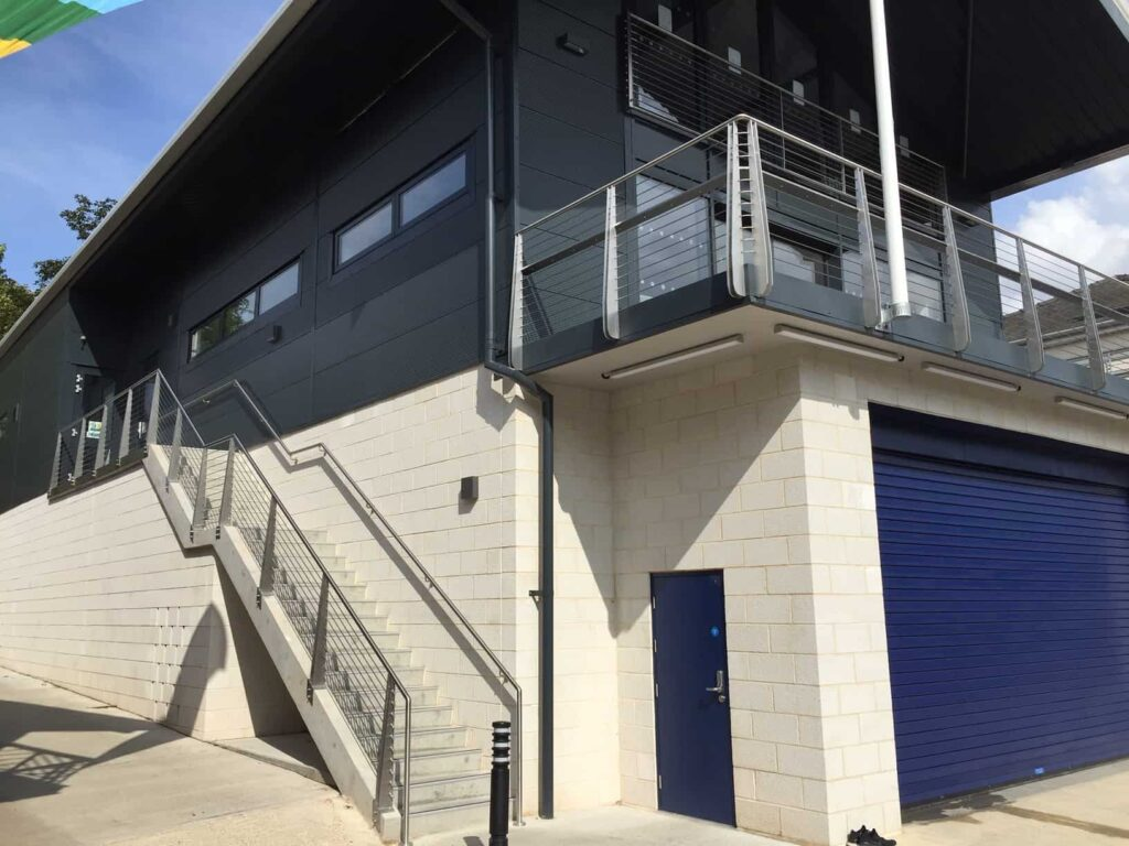 metal balcony City of Cambridge Rowing Club building main outer staircase balcony corner profile Wrightfield